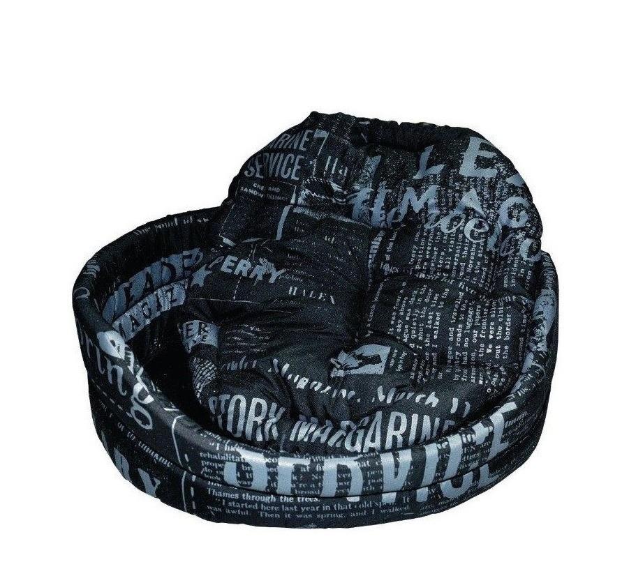 Chaba Legowisko Owalne Standard z poduszką czarna gazeta