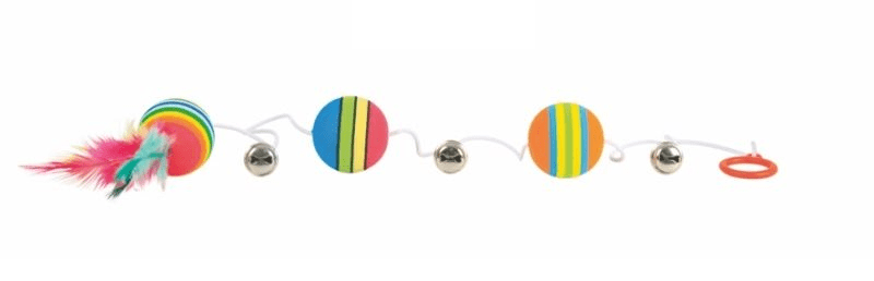 Trixie Piłki tęczowe na gumce 3szt. 3,5cm