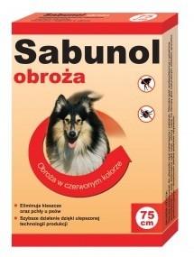 Sabunol Obroża czerwona przeciw pchłom i kleszczom dla psa 75cm