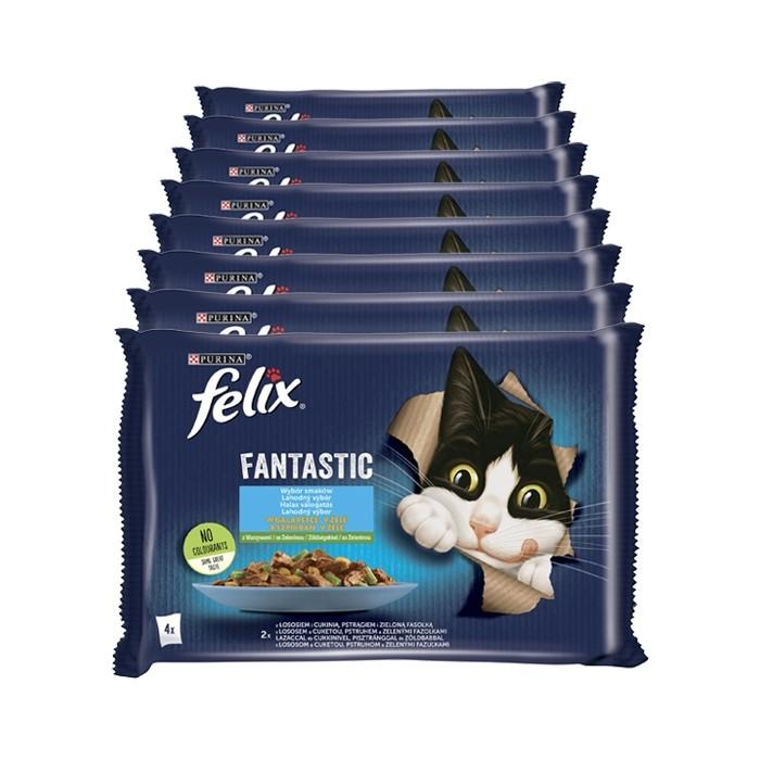 Felix Fantastic Adult w galaretce łosoś i pstrąg z warzywami 85g x 4 (multipak)