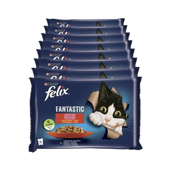 Felix Fantastic Adult w galaretce wołowina i kurczak 85g x 4 (multipak)