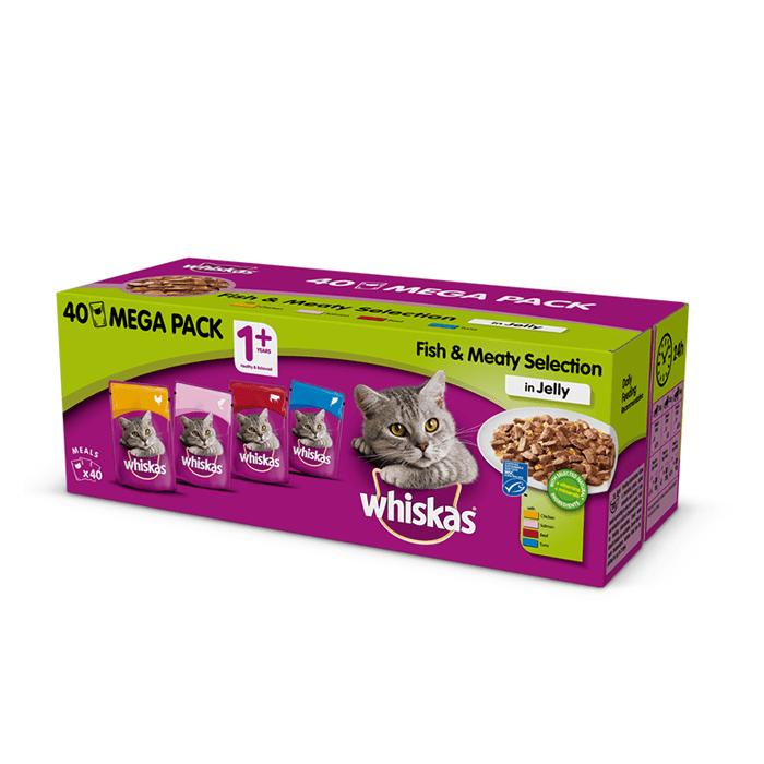 Whiskas Wybór dań rybnych i mięsnych w galaretce 100g x 40 (multipak)
