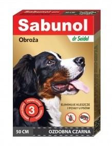 Preparaty lecznicze - Sabunol Obroża czarna przeciw pchłom i kleszczom dla psa 50cm
