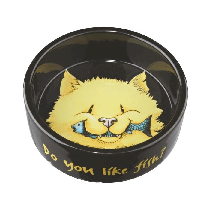 Miski i akcesoria do misek - Trixie miska ceramiczna dla kota czarno żółta 0,3l