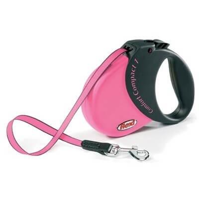 Smycze, obroże, szelki - Flexi  Smycz Comfort Compact taśma S 5 m/15kg różowa