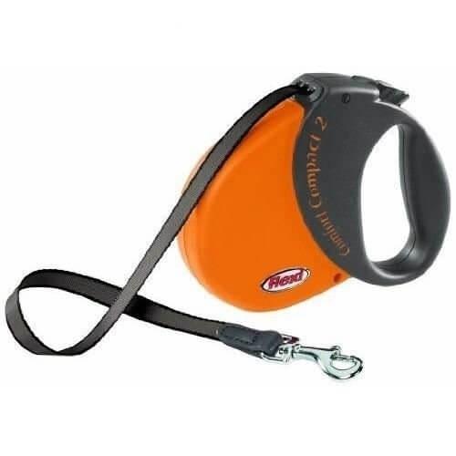 Smycze, obroże, szelki - Flexi Smycz Comfort Compact taśma M 5m/25kg orange