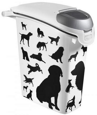 Akcesoria do karmienia - Curver Pet Life pojemnik na karmę z psem czarno szary 10kg