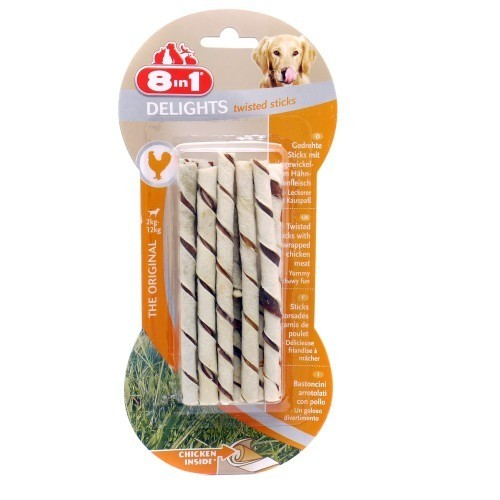 Przysmaki dla psa - 8in1 Delights Twisted Sticks chicken - kurczak 10szt.