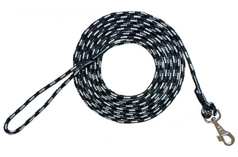 Smycze, obroże, szelki - Chaba Smycz linka treningowa czarno biała