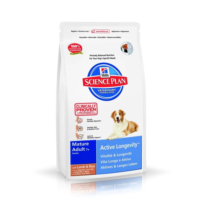 Karmy suche dla psa - Hill's Science Plan Active Longevity Mature Lamb & Rice 12kg
