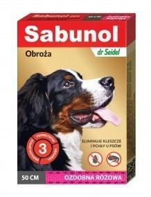Preparaty lecznicze - Sabunol Obroża różowa przeciw pchłom i kleszczom dla psa 50cm