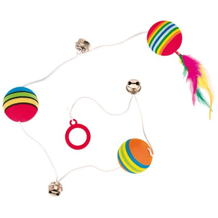 Zabawki - Trixie Piłki tęczowe na gumce 3szt. 3,5cm