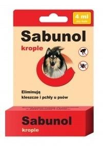 Preparaty lecznicze - Sabunol Krople na pchły i kleszcze dla dużych psów 4ml