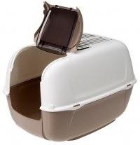 Kuwety, łopatki dla kota - Ferplast Prima Cabrio Toaleta biało-brązowa 39,5 x 52,5 x 38cm