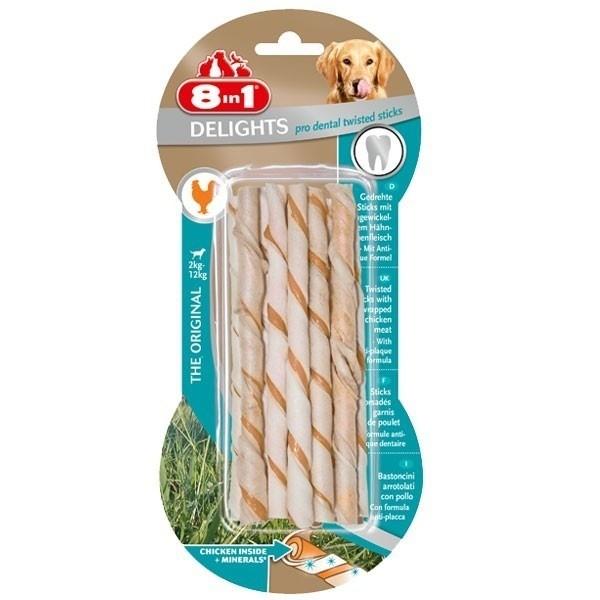 Przysmaki dla psa - 8in1 Delights Twisted Sticks pro dental - dentystyczny 10szt.