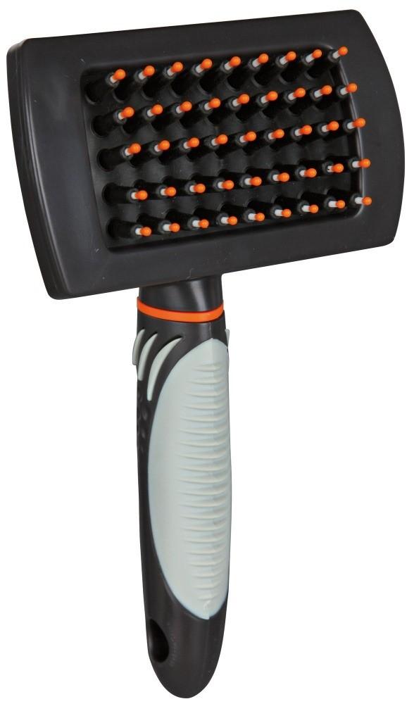 Higiena, pielęgnacja sierści - Trixie Care Brush, Plastic Plastikowa szczotka dla psa