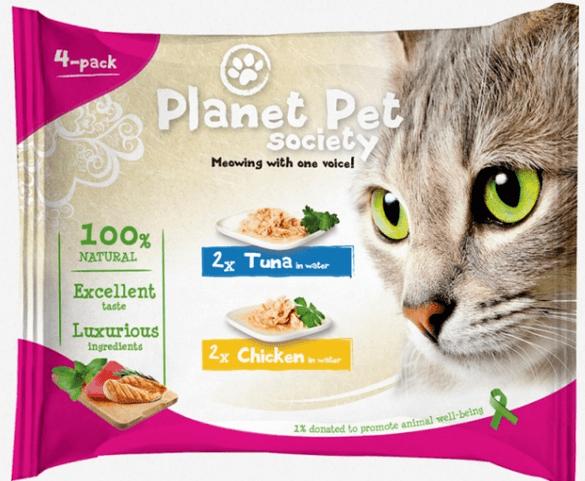 Karmy mokre dla kota - Planet Pet Society tuńczyk i kurczak 4 x 50g