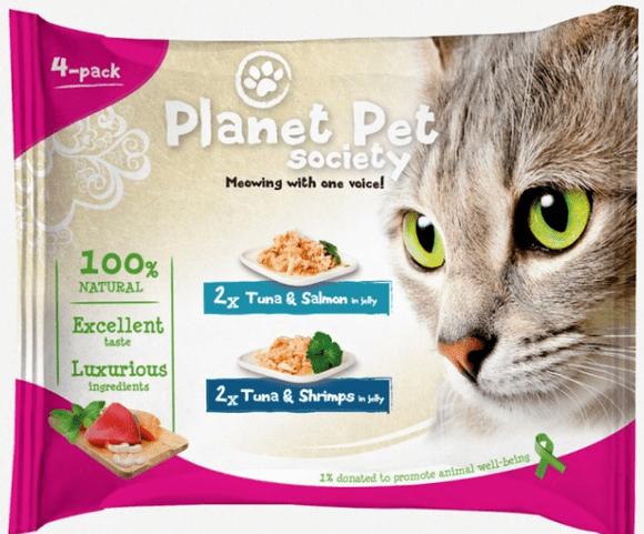 Karmy mokre dla kota - Planet Pet Society tuńczyk, łosoś i krewetki 4 x 50g