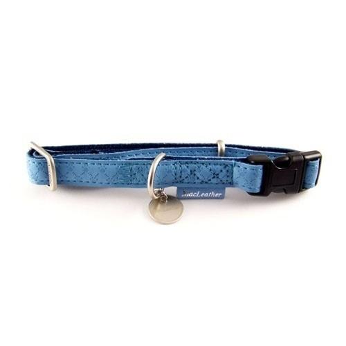 Smycze, obroże, szelki - Zolux Obroża regulowana Mac Leather 20mm niebieska