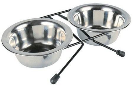Miski i akcesoria do misek - Trixie Dwie miski na stojaku 0,2l