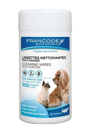 Higiena, pielęgnacja oczu, uszu, zębów - Francodex Chusteczki pielęgnacyjne dla psów i kotów 100szt.