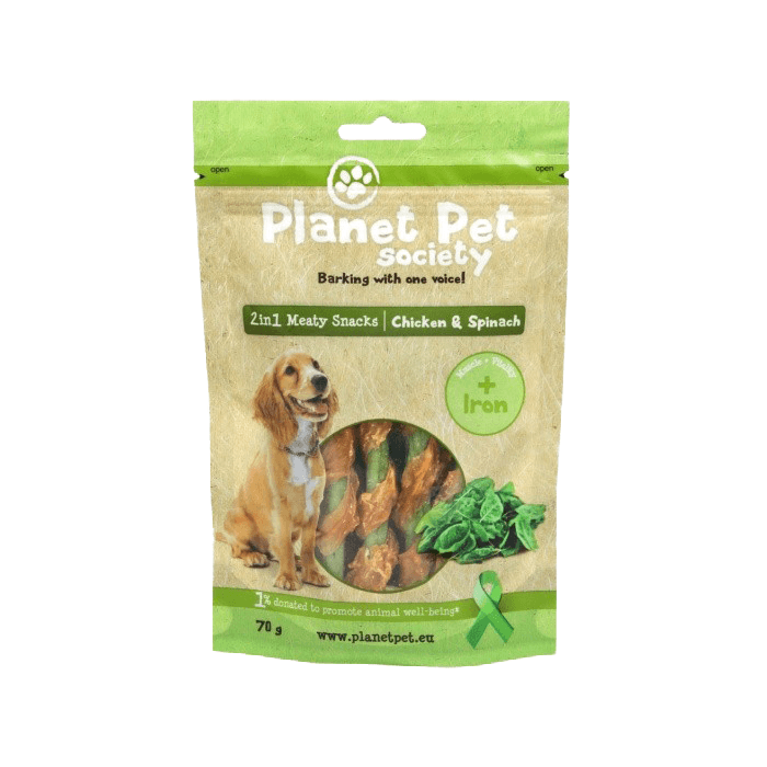 Przysmaki dla psa - Planet Pet Przysmak 2w1 Kurczak szpinak 70g