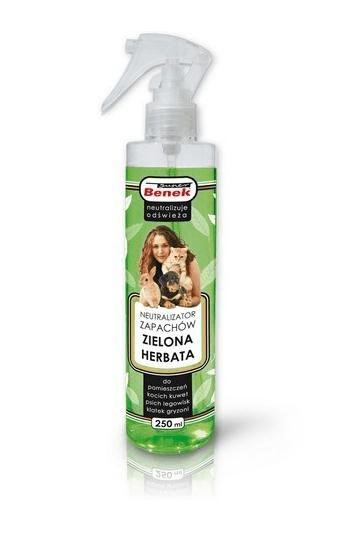 Kuwety, łopatki dla kota - Super Benek neutralizator zapachów zielona herbata spray 250ml