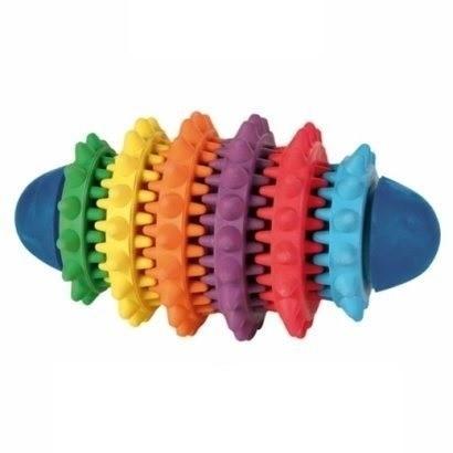 Zabawki - Trixie Piłka Denta Fun rugby kolorowa 15cm