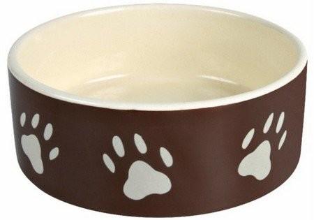Miski i akcesoria do misek - Trixie Miska ceramiczna brązowa w beżowe łapki