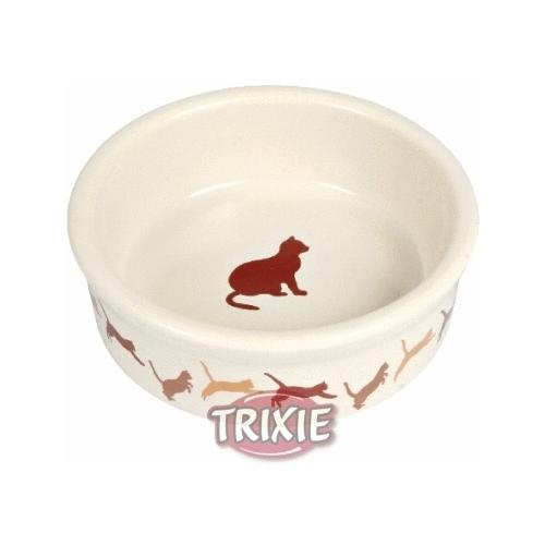 Miski i akcesoria do misek - Trixie miska ceramiczna dla kota beżowa 0,25l