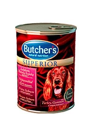 Karmy mokre dla psa - Butchers Superior indyk szynka wędzona warzywa 6x400g
