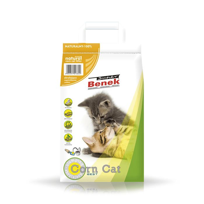 żwirek dla kota - Żwirek Super Benek Corn Cat bezzapachowy