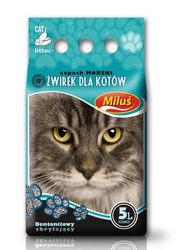 żwirek dla kota - Żwirek Miluś zbrylający bentonitowy morski 5l