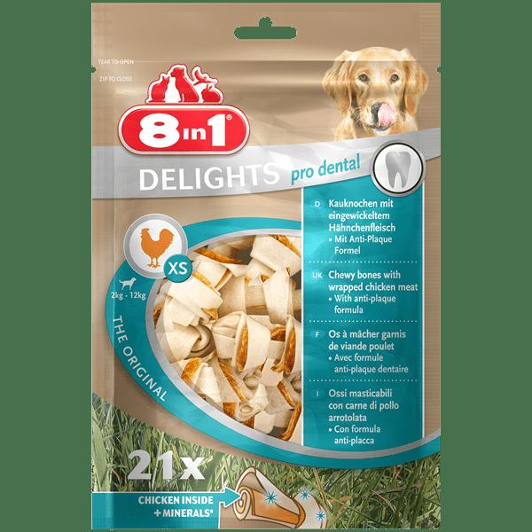 Przysmaki dla psa - 8in1 Delights Pro Dental Bones kość wiązana XS 21szt.