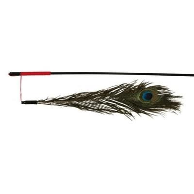 Zabawki - Trixie Wędka z pawim piórem 47cm