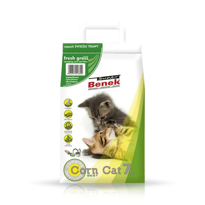 żwirek dla kota - Żwirek Super Benek Corn Cat świeża trawa