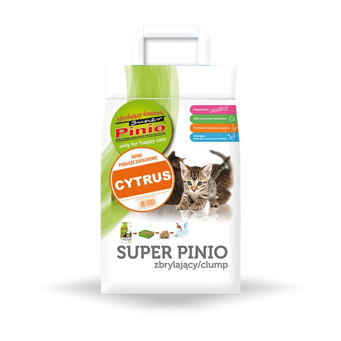 żwirek dla kota - Żwirek Super Benek Pinio Zbrylający Cytryna 7l