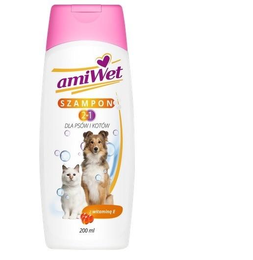 Higiena, pielęgnacja sierści - Amiwet Szampon 2w1 z witaminą E 200ml