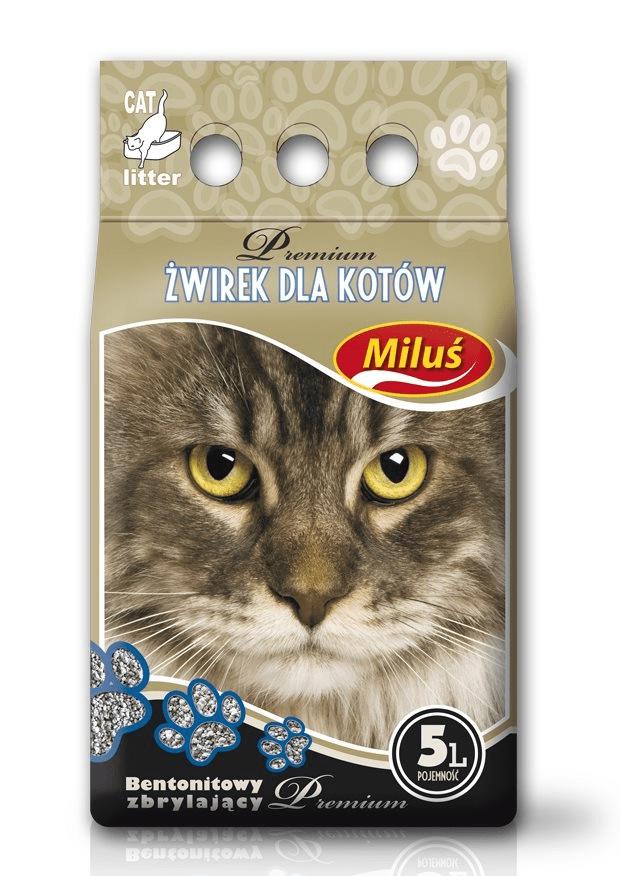 żwirek dla kota - Żwirek Miluś Premium zbrylający bentonitowy 5l