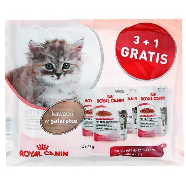 Karmy mokre dla kota - Royal Canin Kitten Instinctive w galeretce 85g 3+1 GRATIS