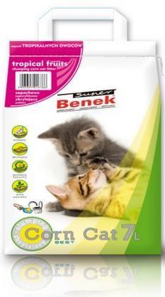 żwirek dla kota - Żwirek Super Benek Corn Cat Owoce Tropikalne 7l