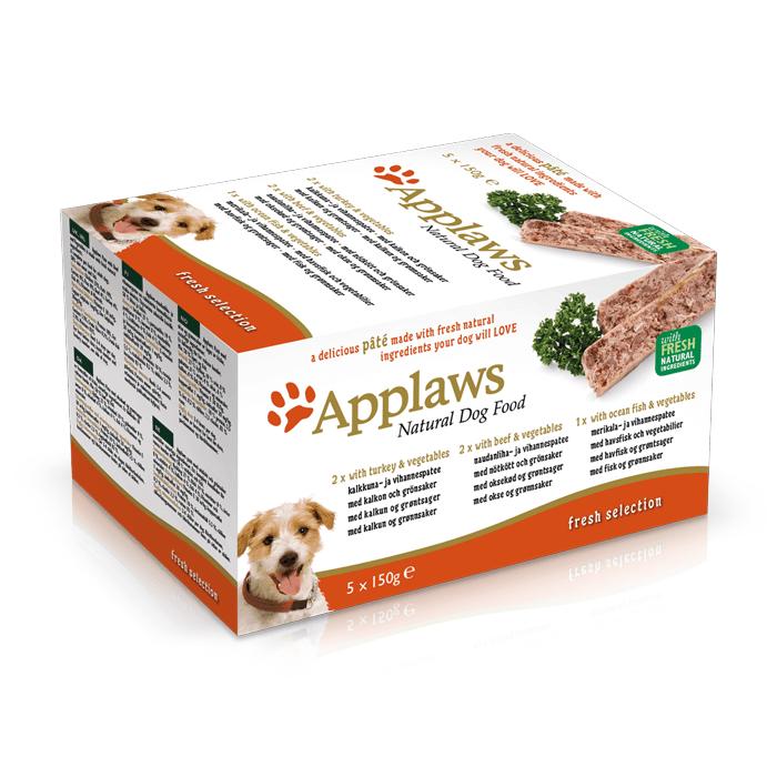 Karmy mokre dla psa - Applaws Paté Pasztet Multipak indyk, wołowina i łosoś z warzywami 5x150g