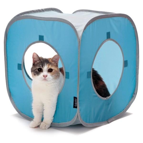 Drapaki, tunele dla kota - SportPet Domek niebieski dla kotka