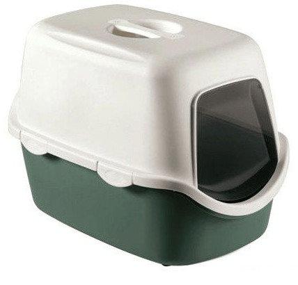 Kuwety, łopatki dla kota - Stefanplast Toaleta Cathy z filtrem Biało-Zielona