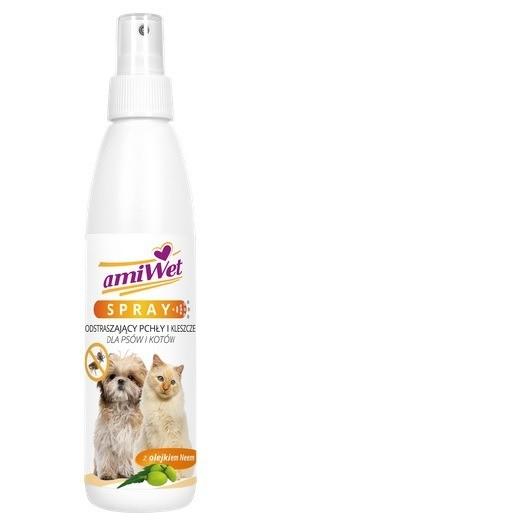 Preparaty lecznicze - Amiwet Spray odstraszający pchły i kleszcze 200ml