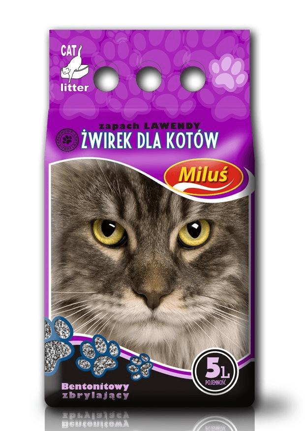 żwirek dla kota - Żwirek Miluś zbrylający bentonitowy lawenda 5l
