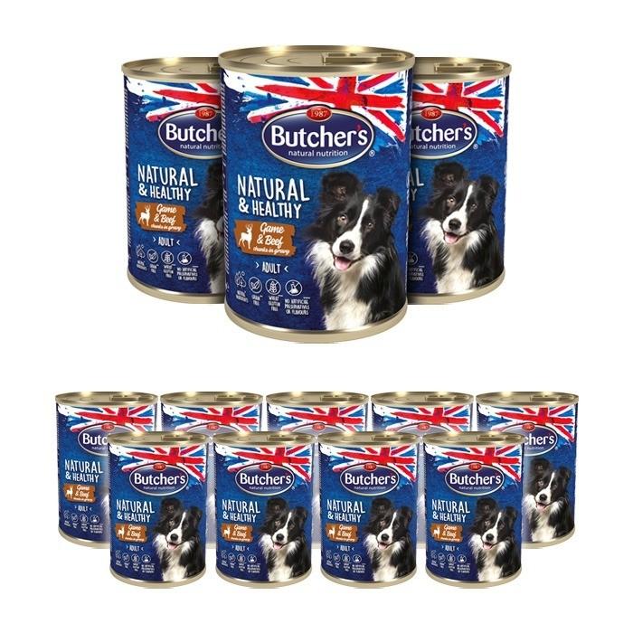 Karmy mokre dla psa - Butcher's Natural&Healthy Dog z dziczyzną i wołowiną kawałki w sosie 400g x 12