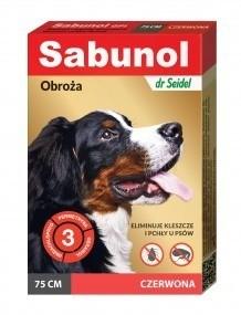 Preparaty lecznicze - Sabunol Obroża czerwona przeciw pchłom i kleszczom dla psa 75cm