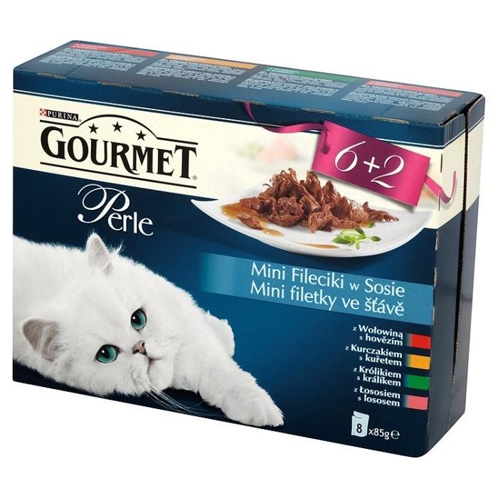 Karmy mokre dla kota - Gourmet Perle Mini Fileciki w sosie wołowina 8x85g