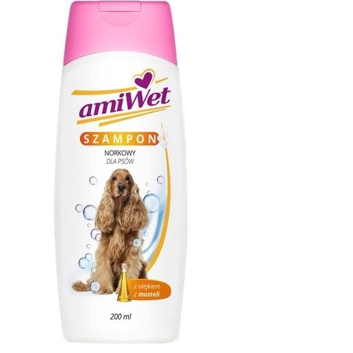 Higiena, pielęgnacja sierści - Amiwet Szampon norkowy dla psów 200ml